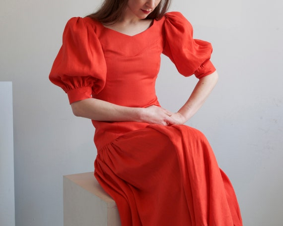 Red orange drop waist balloon sleeves dress