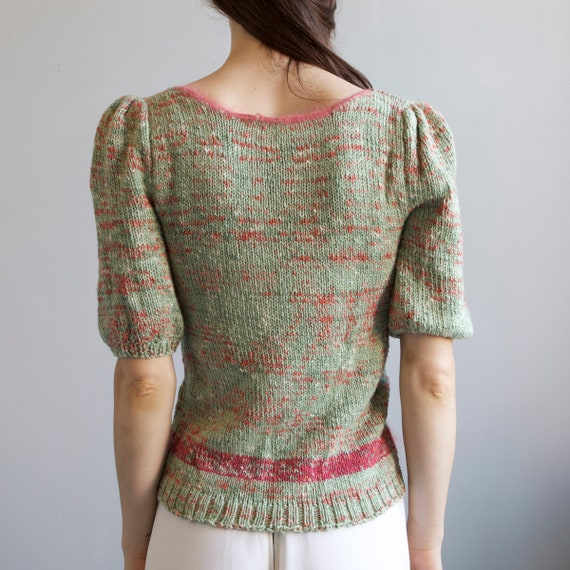 tricot hand knit aqua sweater 40s style / S - image 10