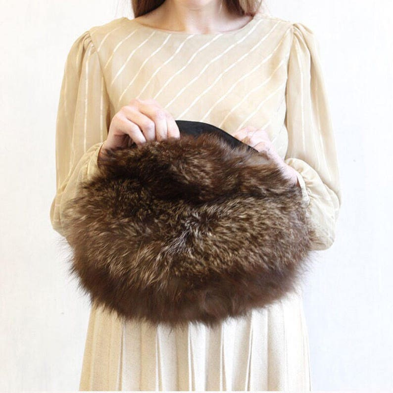 589cd66dff3a9 vintage real fox fur bag purse / brown fox fur handbag / boho fox fur bag /  fox muff