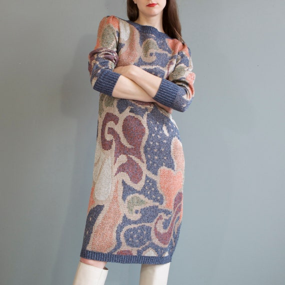 rare jacquard knit puff shoulders sweater dress /… - image 8