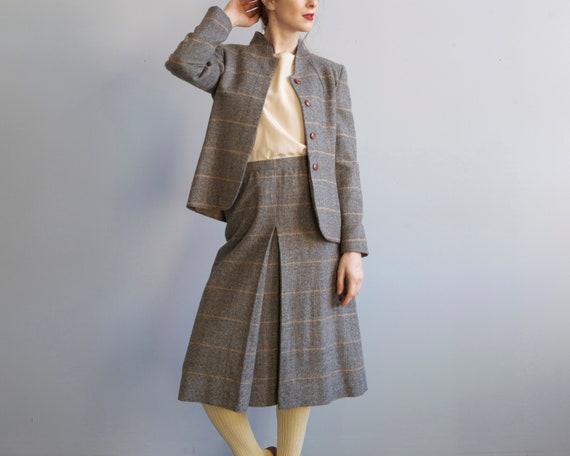 80's Diane Von Furstenberg Plaid Skirt Suit Set /
