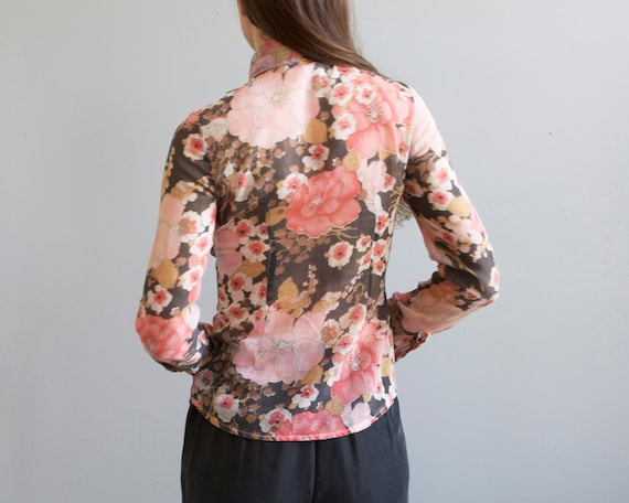 70s floral pink straight fit sheer shirt / XXS