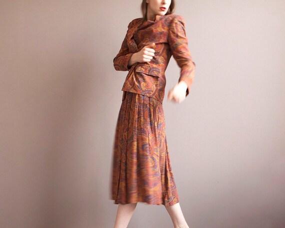 blazer skirt suit / rusty orange two pieces set /