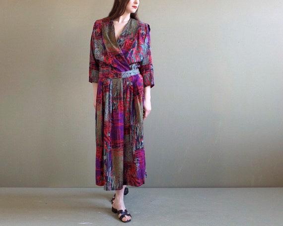 Vintage two pieces set / purple skirt jacket set /