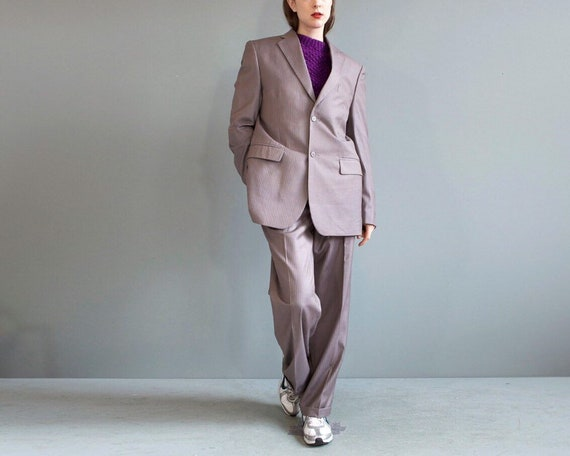 pinstripe gray suit blazer pants / boyfriend suit