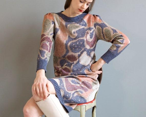 rare jacquard knit puff shoulders sweater dress /… - image 3