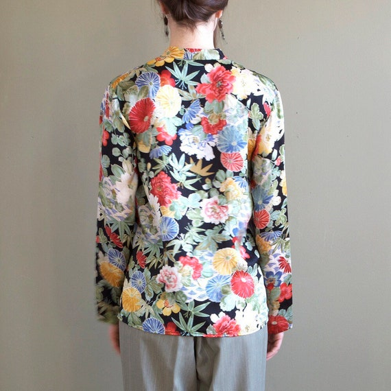 Floral silk blouse / asian inspired silk blouse /… - image 4