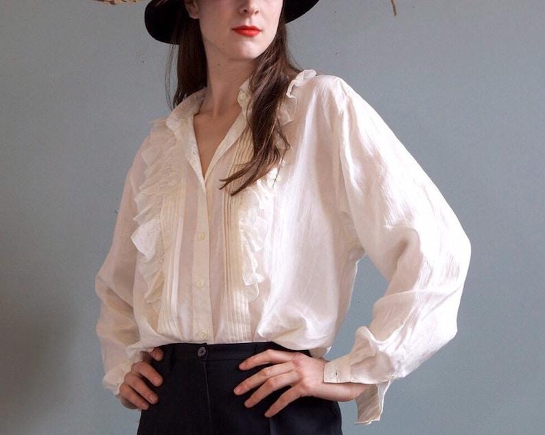 4464b392b Vintage ivory ruffles silk shirt / white silk shirt with | Etsy