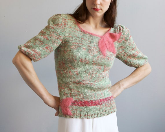 tricot hand knit aqua sweater 40s style / S - image 1