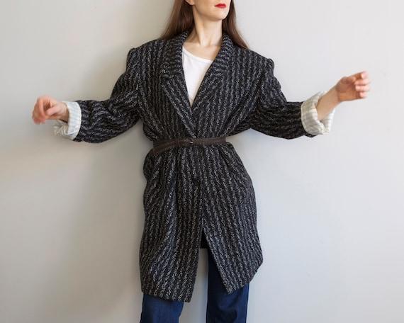 80s new wave black striped coat / M