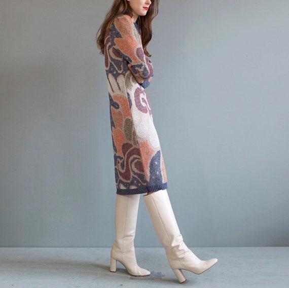 rare jacquard knit puff shoulders sweater dress /… - image 4
