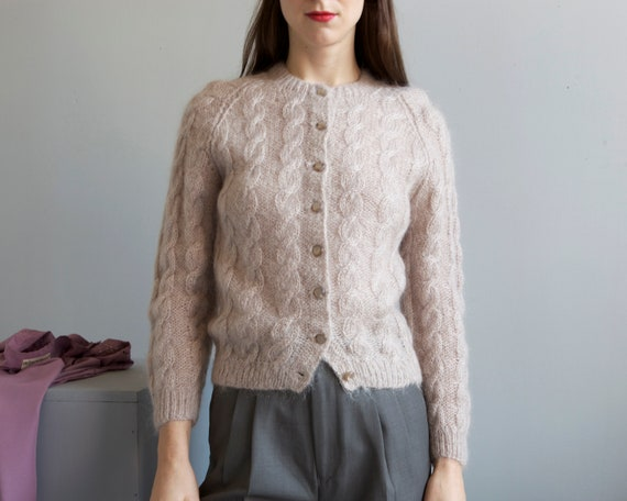 hand knit dusty taupe cable knit cardigan  / grann