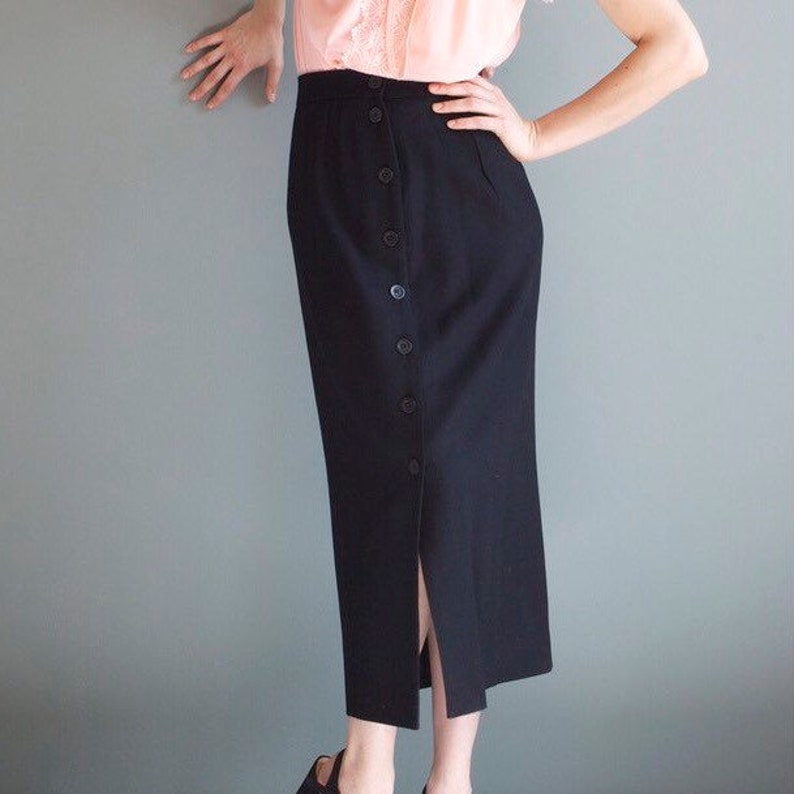 7ec524e13 Vintage black pencil skirt / long black wool skirt / small | Etsy
