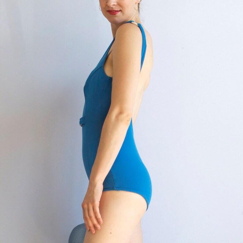 Blue 70s swimsuit  70s swimwear  blue petite maillot