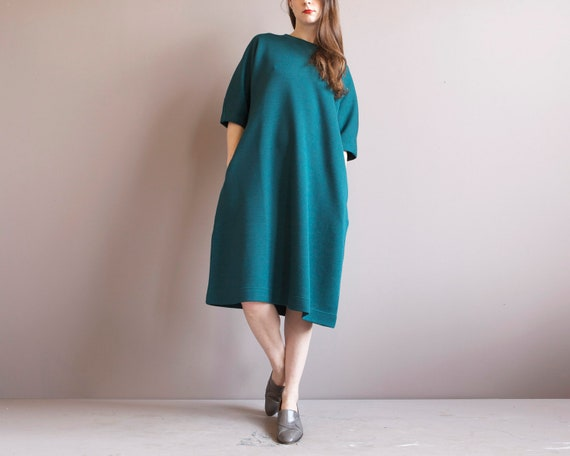 green minimalist baggy sweater dress size L