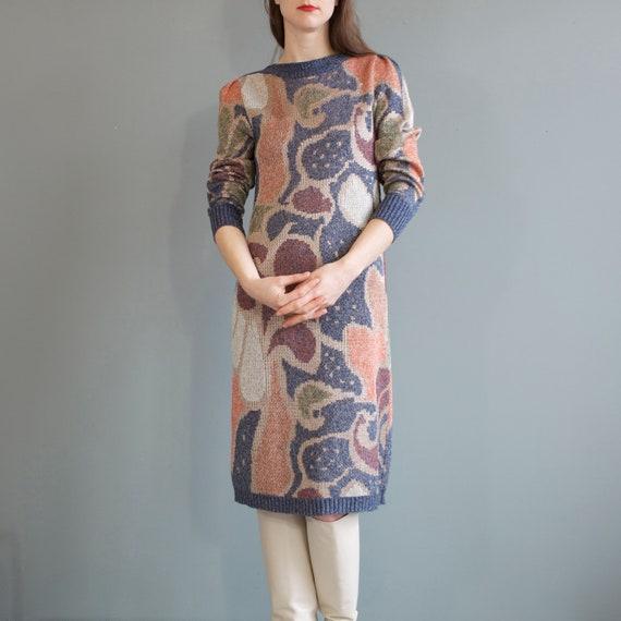 rare jacquard knit puff shoulders sweater dress /… - image 10