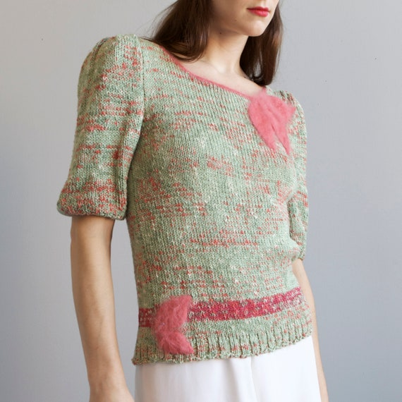 tricot hand knit aqua sweater 40s style / S - image 7
