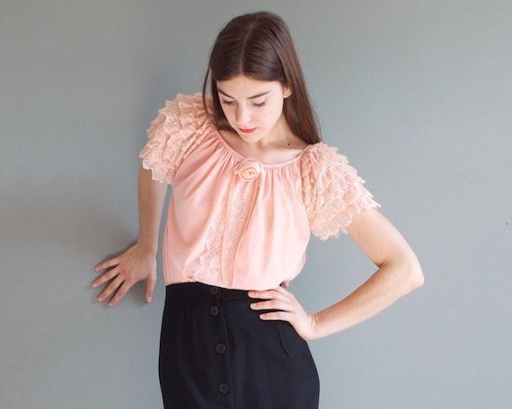blush frills nightgown slip dress blouse / XS S