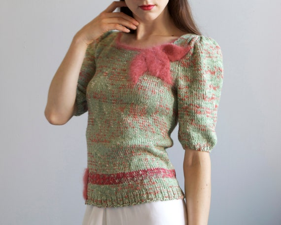 tricot hand knit aqua sweater 40s style / S - image 2