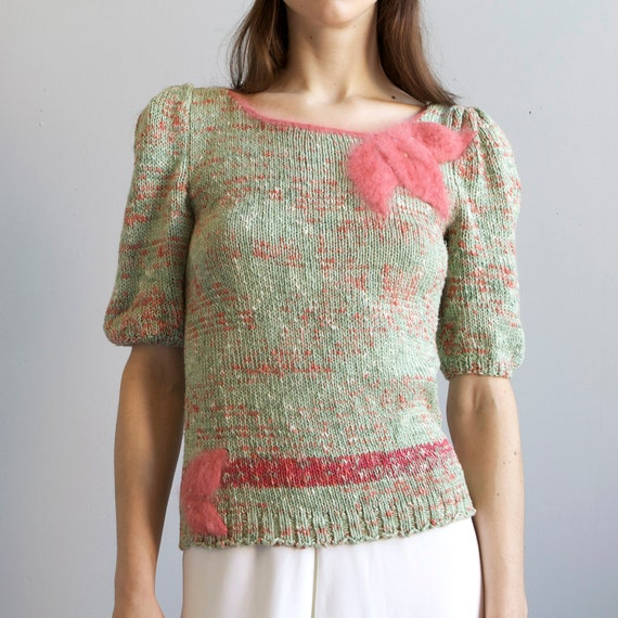 tricot hand knit aqua sweater 40s style / S - image 3