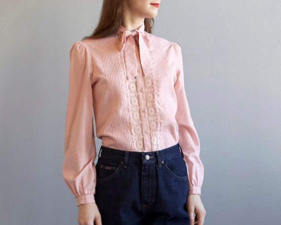 pink blouse with lace / bow tie secretary blouse /