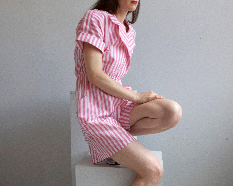 80s Dresses | Casual to Party Dresses Vintage Pink  White Striped Summer Romper Jumpsuit10 P $23.00 AT vintagedancer.com