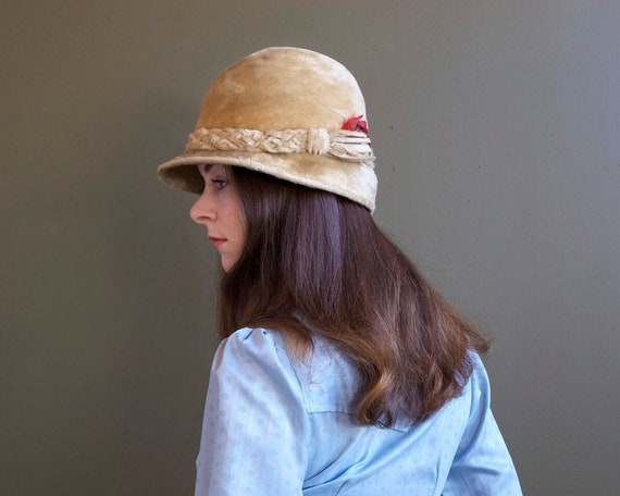 trilby hunter beige feathered hat