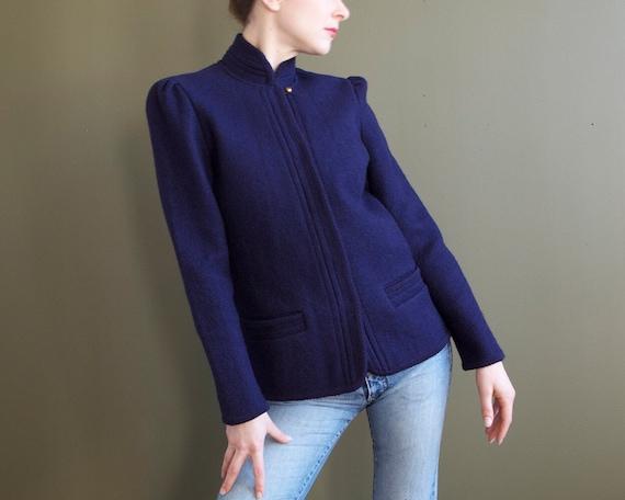 navy blue wool jacket / puffed shoulders dark blue