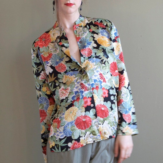 Floral silk blouse / asian inspired silk blouse /… - image 3