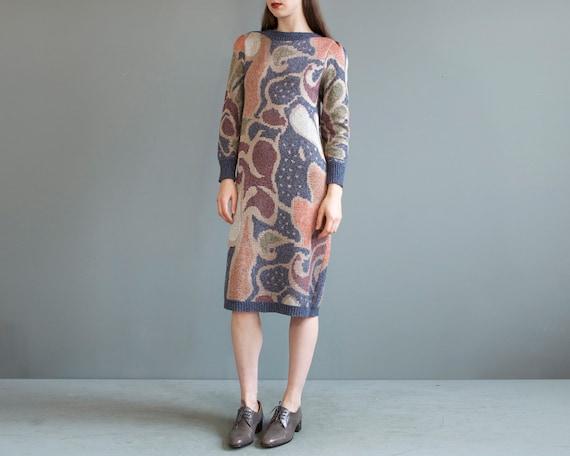 rare jacquard knit puff shoulders sweater dress /