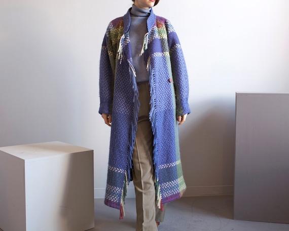 blanket fringe plaid wool raglan sleeve coat / sz