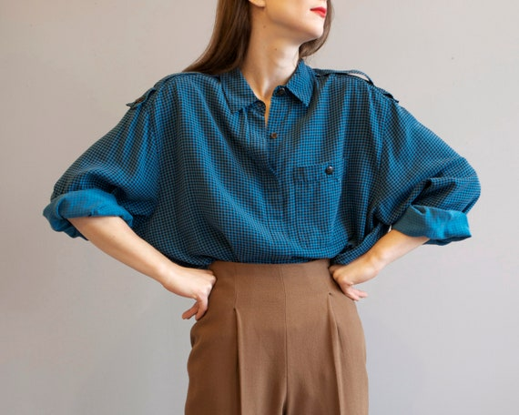 blue teal check oversized 80s shirt / S M L