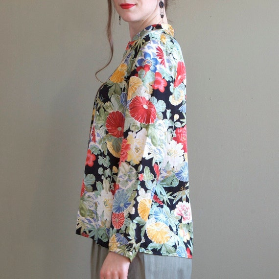 Floral silk blouse / asian inspired silk blouse /… - image 7