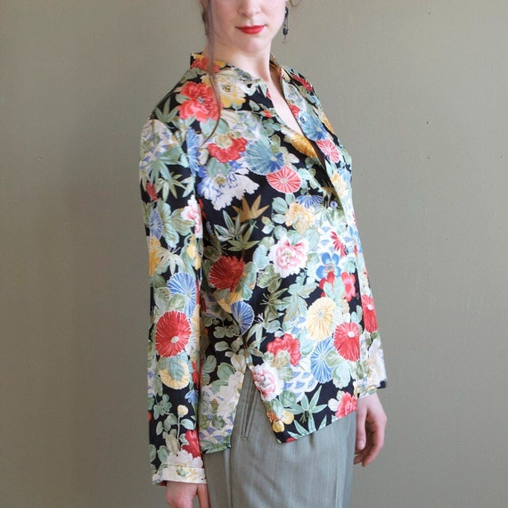 Floral silk blouse / asian inspired silk blouse /… - image 6