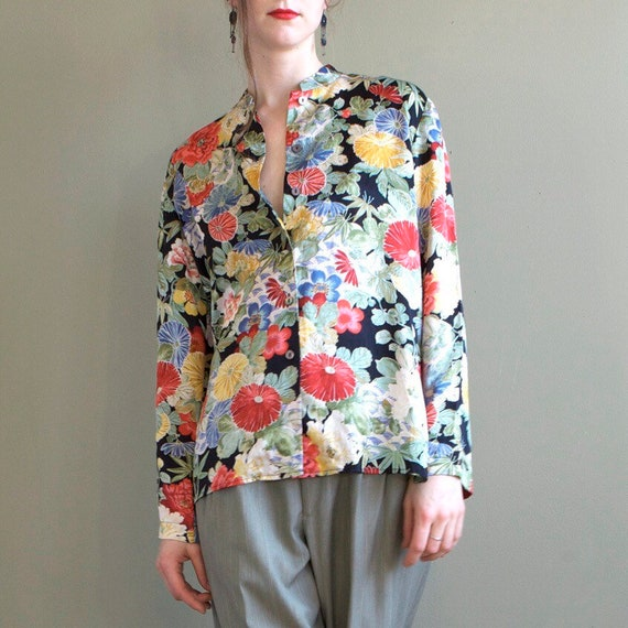 Floral silk blouse / asian inspired silk blouse /… - image 5
