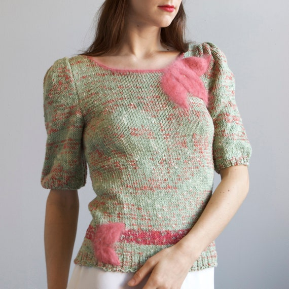 tricot hand knit aqua sweater 40s style / S - image 4