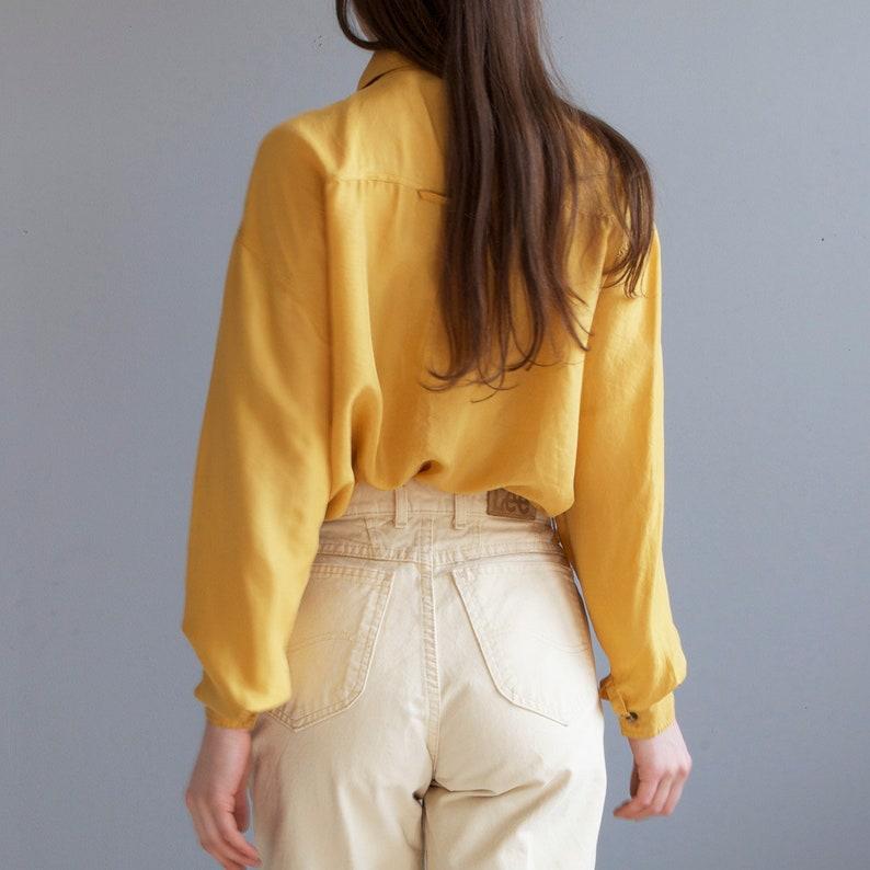 90s yellow saffron silk shirt  two pockets silk shirt blouse  yellow mustard shirt  S M