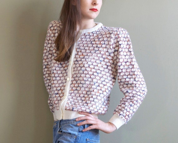 vintage white knit puffed shoulders cardigan / pop