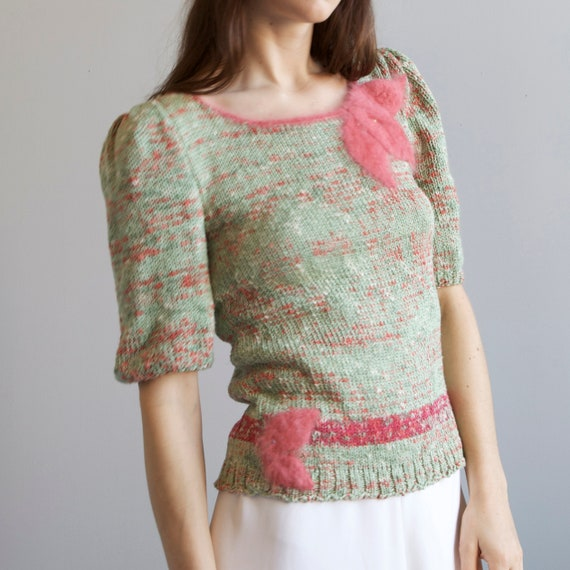 tricot hand knit aqua sweater 40s style / S - image 6
