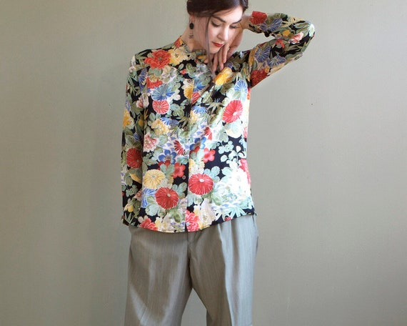 Floral silk blouse / asian inspired silk blouse /… - image 2