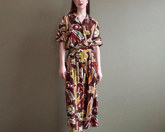 tropical print skirt set / two pieces set / matchi