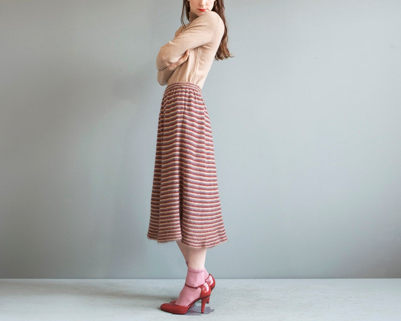 4a3496dc2 Vintage mohair striped skirt / beige A-line skirt / XS S M | Etsy