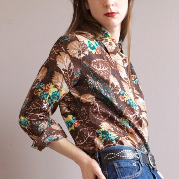 70s brown floral disco shirt blouse