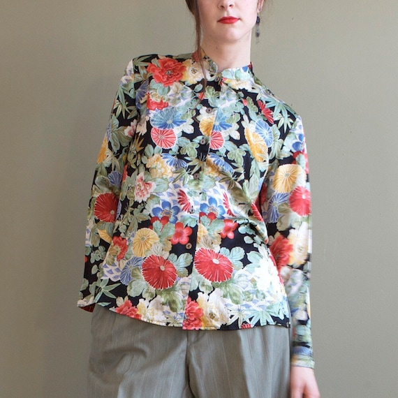 Floral silk blouse / asian inspired silk blouse /… - image 8