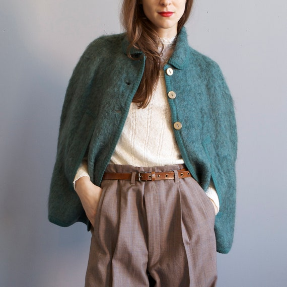 smoky green teal wool mohair cape / sz small