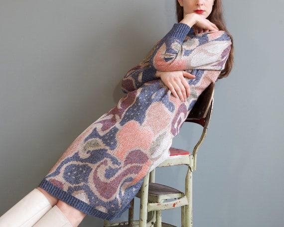 rare jacquard knit puff shoulders sweater dress /… - image 9