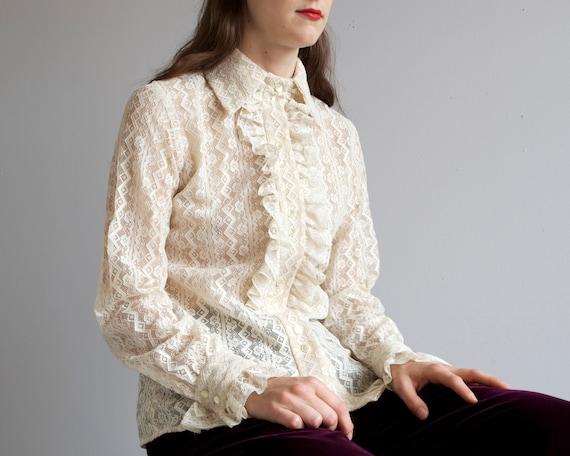 60s 70s lace ruffle placket Neiman Marcus shirt /