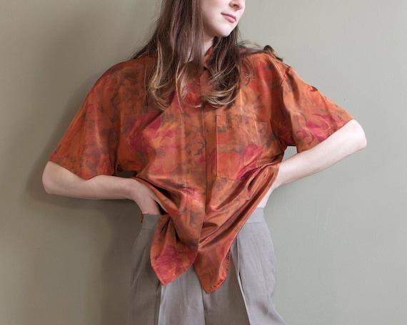 metallic burnt orange blouse shirt / 80s 90s rusty