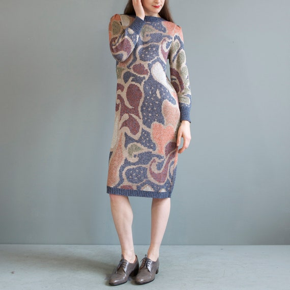 rare jacquard knit puff shoulders sweater dress /… - image 6