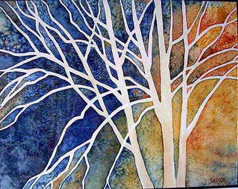 Trees in Contrast - watercolor painting